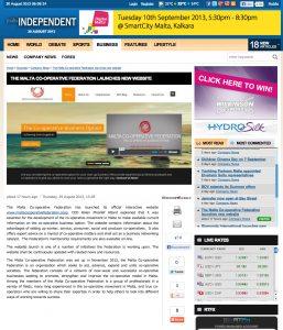 Malta Co-operative Federation website on the Malta Independent