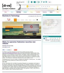 Malta Co-operative Federation website on Di-ve